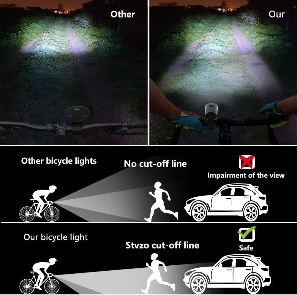 Luz de LED Bicicleta Inteligente para Ciclismo Seguridad Luces Bicicleta Delantera y Trasera Kit Luz Bicicleta Recargable USB IPX5 Impermeable L/ámpara Bicicleta Luz de Bicicleta Luz Bicicleta Set