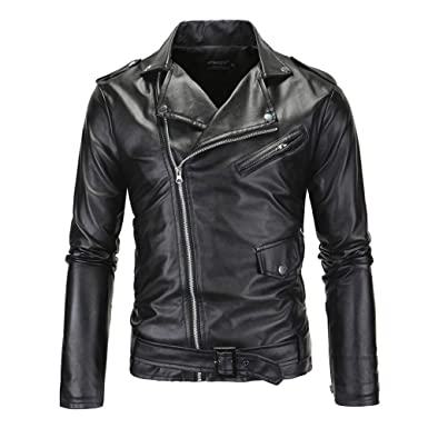 02ea8ffd0 Comeon Mens Leather Jacket Causal Belted Design Slim Lapel Collar Biker  Zipper Coat Black Motorcycle Jackets