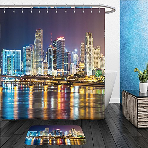 Beshowereb Bath Suit: ShowerCurtian & Doormat downtown miami night city - Miami Macy