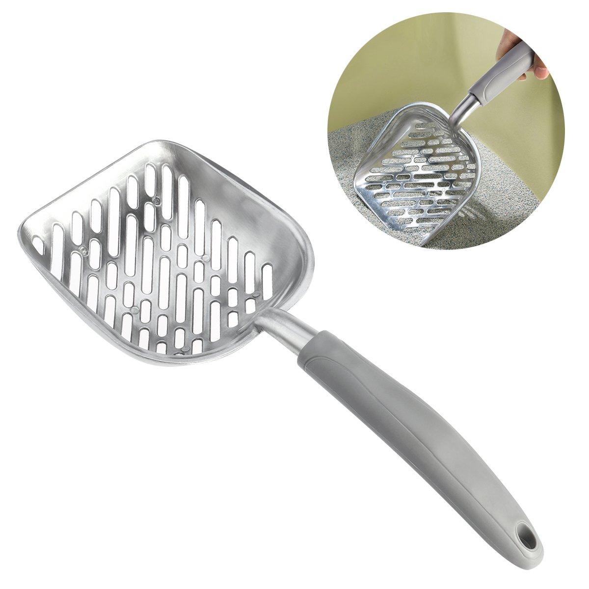 Grey UEETEK Pet Kitty Dog Cat Litter Scooper Metal Pet Cat Poop Shovel with Long Handle (Grey)