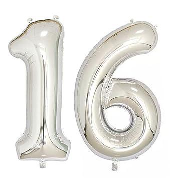 Ouinne Globo 16 Años, 40 Pulgadas Globo del Cumpleaños Número 16 Helio Globos para La Decoración Boda Aniversario (Plata)