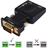 FineSource (VGA Male to HDMI Female) 1080P VGA to HDMI Converter Adapter Box Audio Port VGA Extension Cable Mini USB Power Cable 3.5mm Audio Cable Included