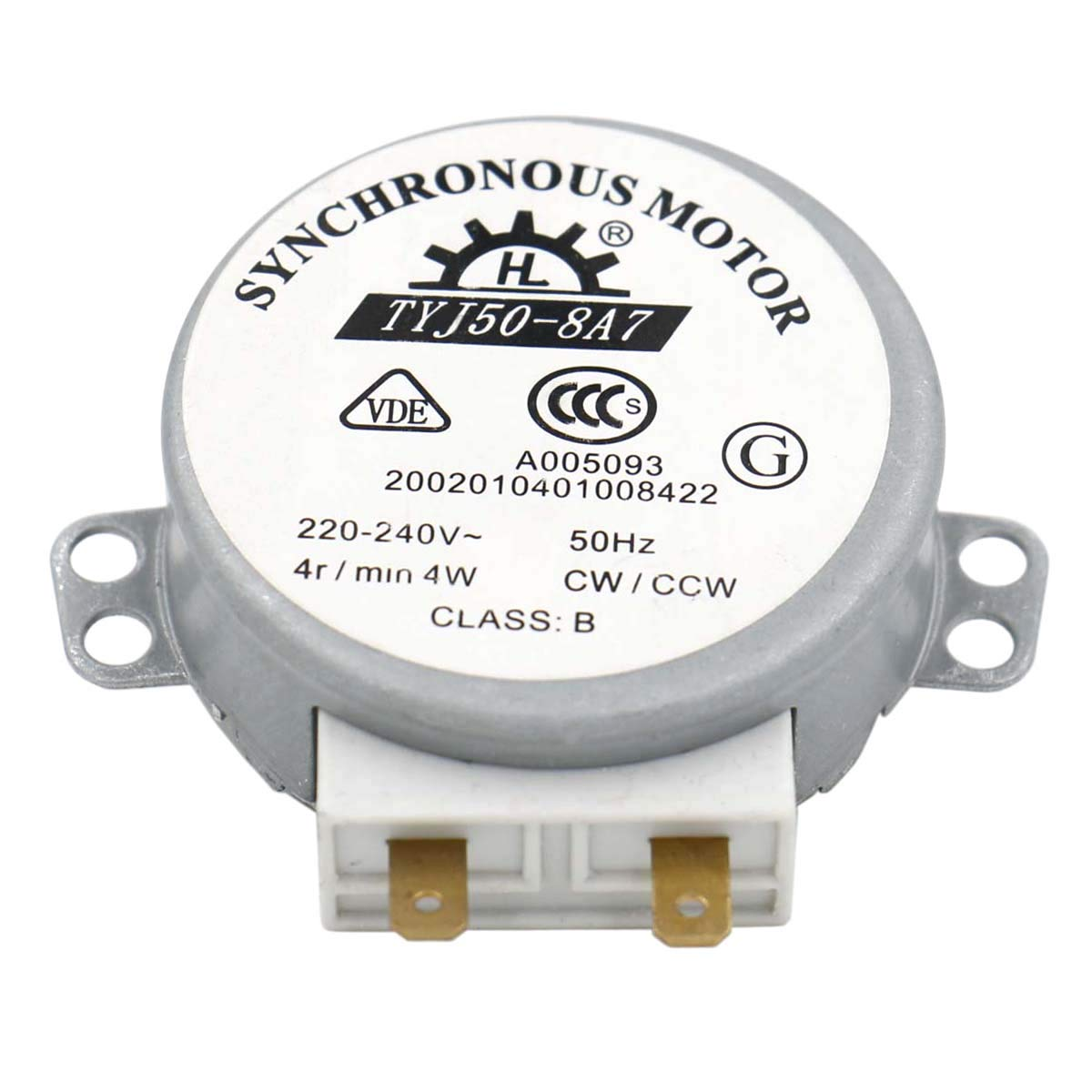 Heschen Synchronous Motor TYJ50-8A7 220-240V AC 4R/Min CW/CCW 50Hz for microwave oven Turn Table VDE listed