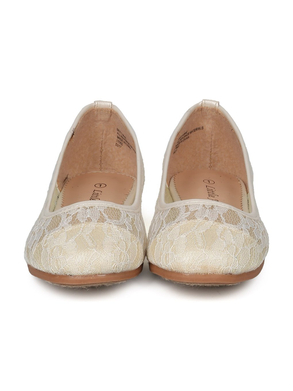 Alrisco Lace Mesh Capped Toe Ballet Flat HF24 - Ivy Mix Media (Size: Big Kid 4) by Alrisco (Image #4)
