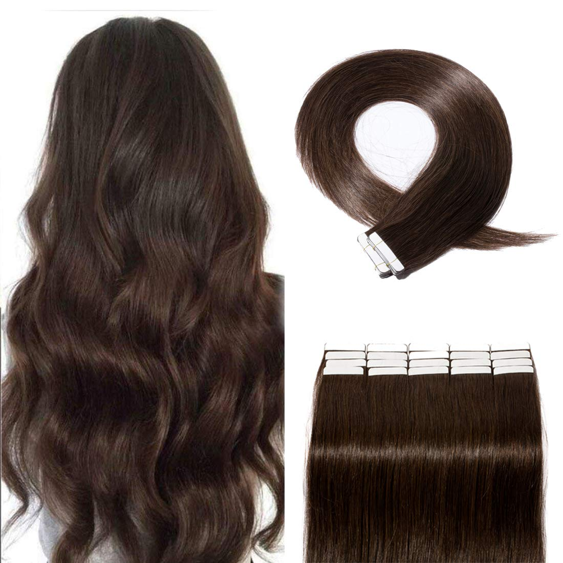 SEGO 40 Pieces Rooted Tape in Hair Extensions Human Hair Seamless Skin Weft 100% Real Remy Invisible Tape Hair Extensions Straight Double Sided 18 inches #02 Dark Brown 100g by SEGO