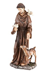 "Fox Valley Traders St. Francis of Assisi Decorative Garden Statue, Weather-Resistant Resin, 16"" High"
