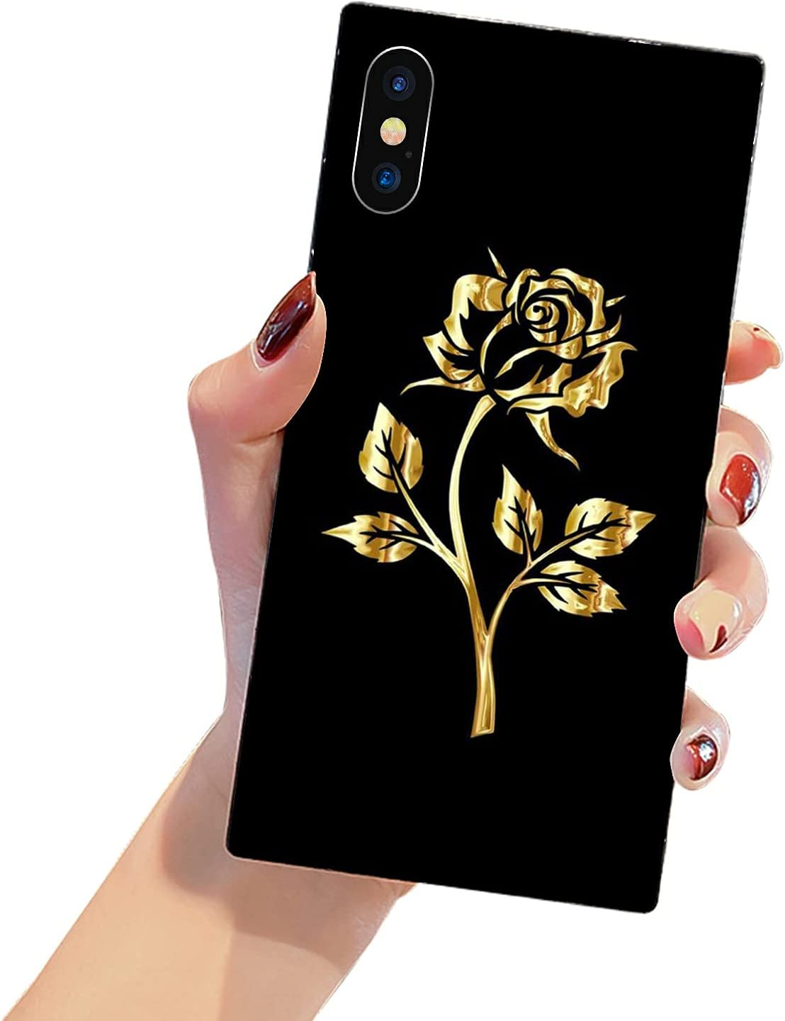 HDTST Square Edge iPhone Xs Case,Gold Rose iPhone X Cases for Women Girls,Hard PC Pattern Design Back Cover+Soft TPU Bumper Frame Support Case for iPhone X/Xs Gold Rose Flowers