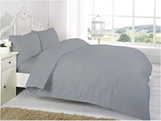 T&A Traders® 100% Egyptian Cotton 200 Thread Count Super King Size Grey Duvet/Quilt Cover with 2 Matching Pillowcases