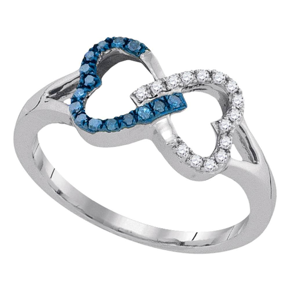 Blue Diamond Two Hearts Ring Sterling Silver Love Knot Band Promise Style Fashion Polished Fancy 1/6 ctw