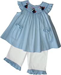 6025cee0a Mary Poppins Smocked Bishop Dress White Pants Set Fine Baby Girls Clothing