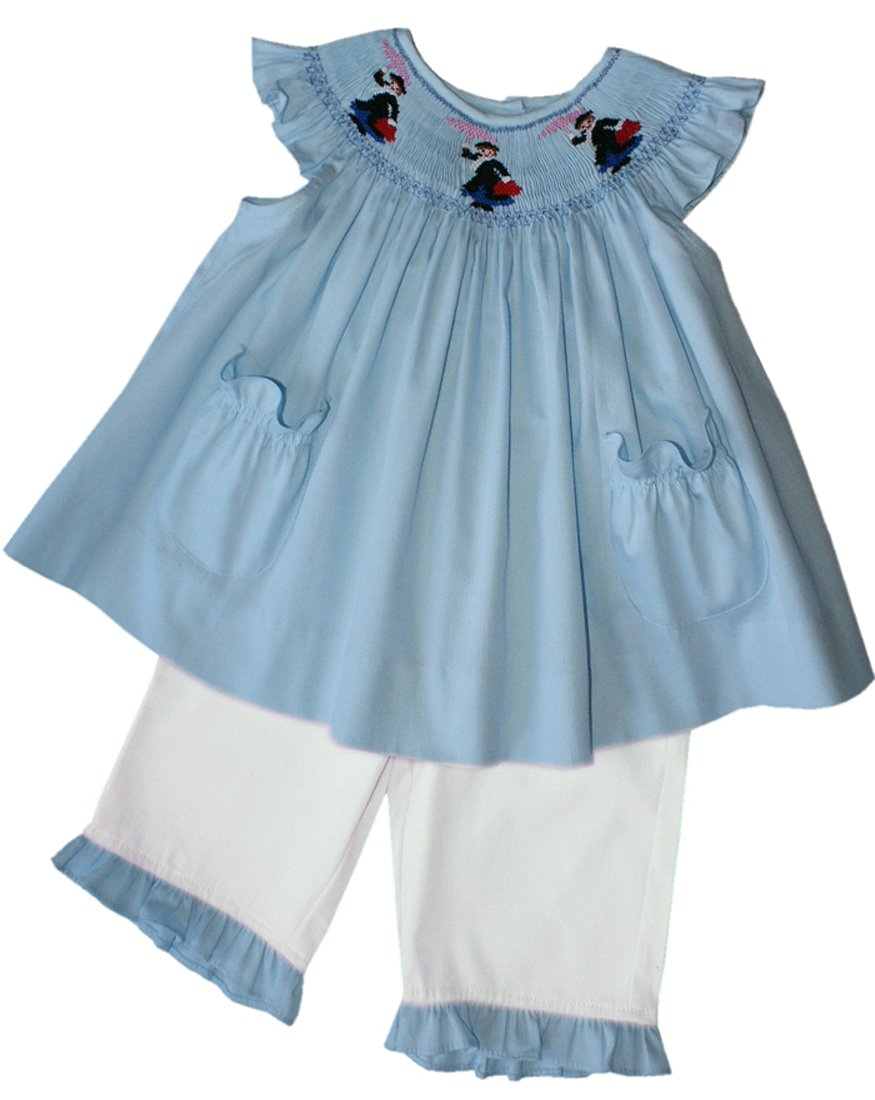 Mary Poppins Smocked Bishop Dress White Pants Set Fine Baby Girls Clothing.