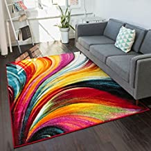 "Aurora Multi Red Yellow Orange Swirl Lines Modern Geometric Abstract Brush Stroke Area Rug 3x5 ( 3'3"" x 5' ) Easy Clean Fade Resistant Shed Free Contemporary Painting Art Stripe Thick Soft Plush"