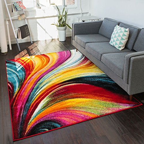 Aurora Multi Red Yellow Orange Swirl Lines Modern Geometric Abstract Brush Stroke Area Rug 5 x 7 ( 5'3