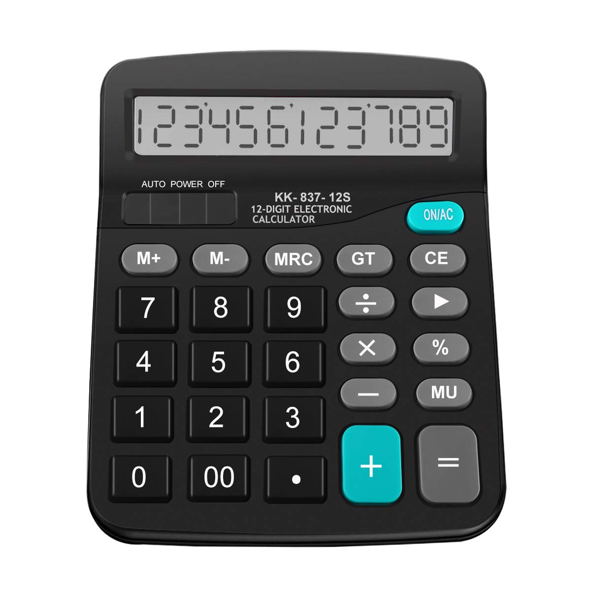 Hautoco Desk Calculator Basic Solar and AA Battery Power, 12 Digit Large LCD Display for School Office