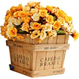 JAROWN Cute Square Wooden Vase with Artificial Plants Silk Rose Flowers for Home Office Table Decoration(Orange)