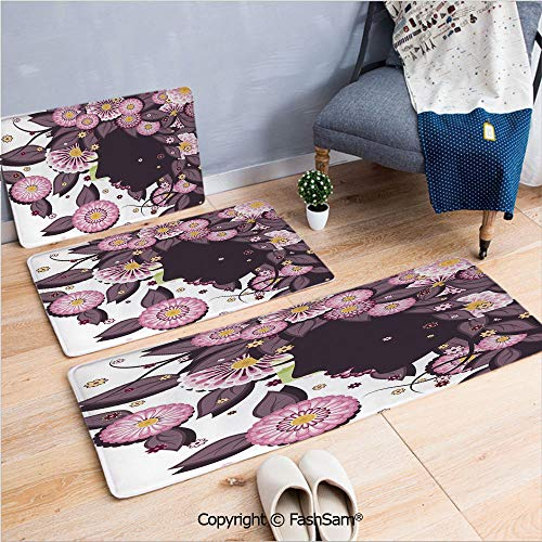 FashSam 3 Piece Non Slip Flannel Door Mat Portrait of Flower Girl with Floral Hair with Daisy Leaf Mother of Nature Concept Indoor Carpet for Bath Kitchen(W15.7xL23.6 by W19.6xL31.5 by W19.6xL59)