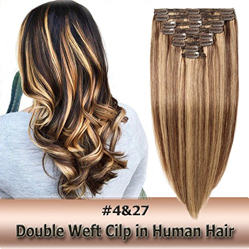 100% Remy Clip in Human Hair Extensions Double Weft Thick Highlight Medium Brown mixed Dark Blonde 8pcs on 8A Grade Soft Straight Hair (#4-27,10 inch=110g)