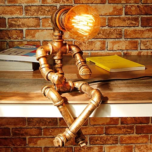 E27 Industrial Retro Edison Wrought Iron Table Lamp For Books Shelves HALORI Steam Punk Creative Decoration Adjustable Water Pipe Lights, Robot Modeling, Antique Bronze