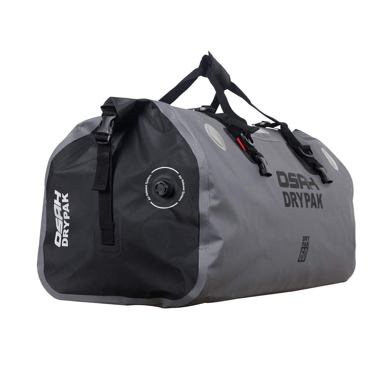60L Outdoor Kayaking Motorcycle Dry Duffle Tail Bag Waterproof Saddle Roll Bag Luggage Holdall Reflective Black 40L for Motorcycling Travel Camping Cycling Gray Hiking