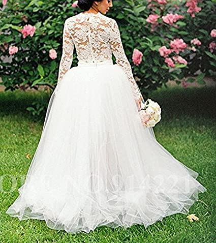 2fffd18770ae Mollybridal Tulle Illusion Long Sleeves Wedding Dresses 2 Pieces for Bride  2019 at Amazon Women's Clothing store: