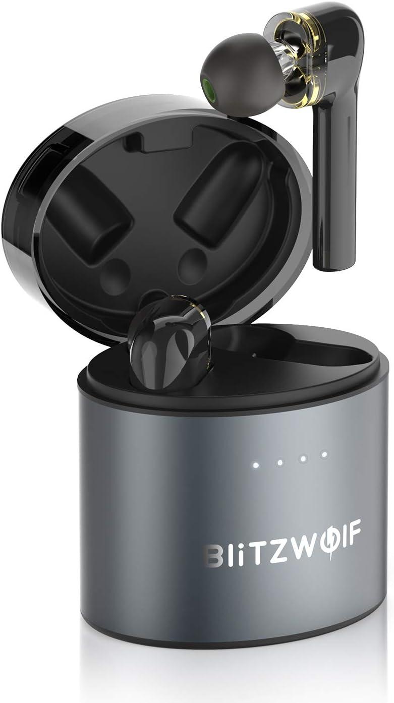 Mini Auriculares Bluetooth, BlitzWolf TWS Bluetooth 5.0 Mini Twins Estéreo In-Ear Auriculares Inalámbricos Auriculares Wireless Sonido Estéreo Controlador Dinámico Dual de Grafeno Control Táctil
