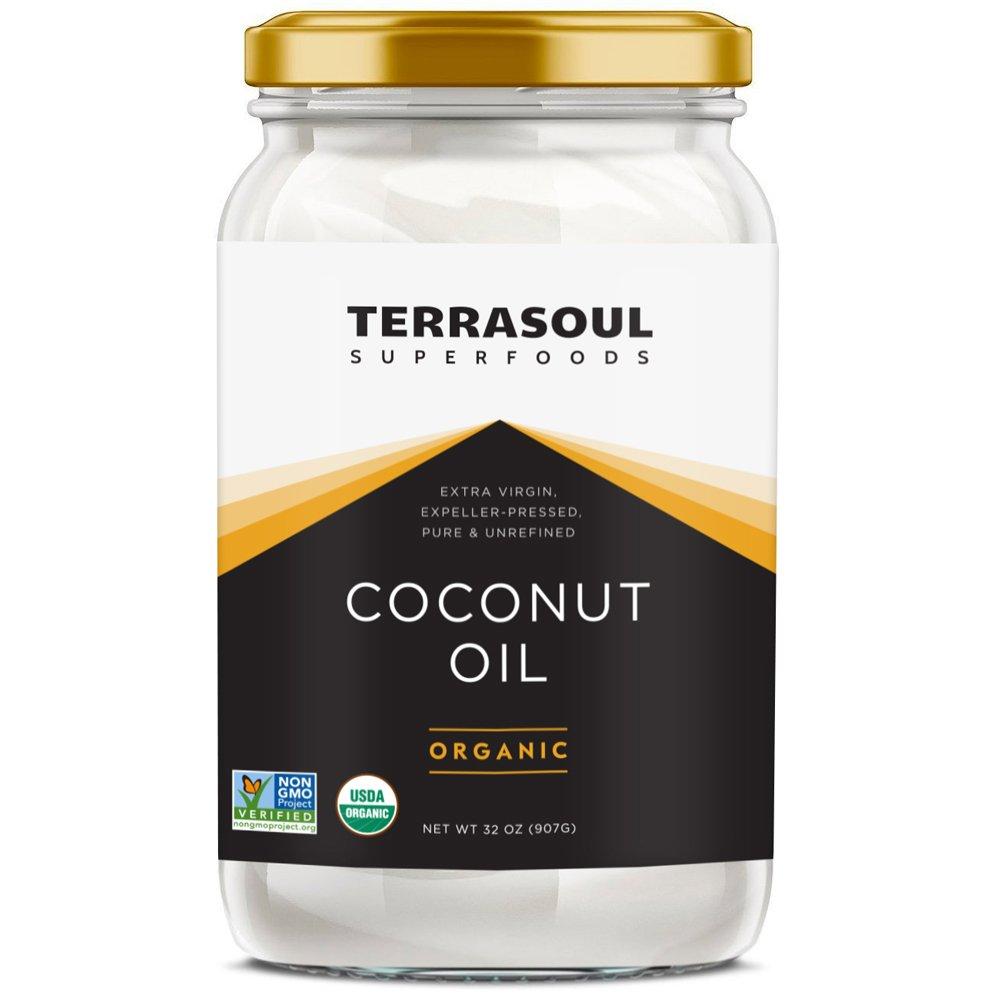Terrasoul Superfoods Extra Virgin Organic Coconut Oil, 4 Pounds (Glass Jar)