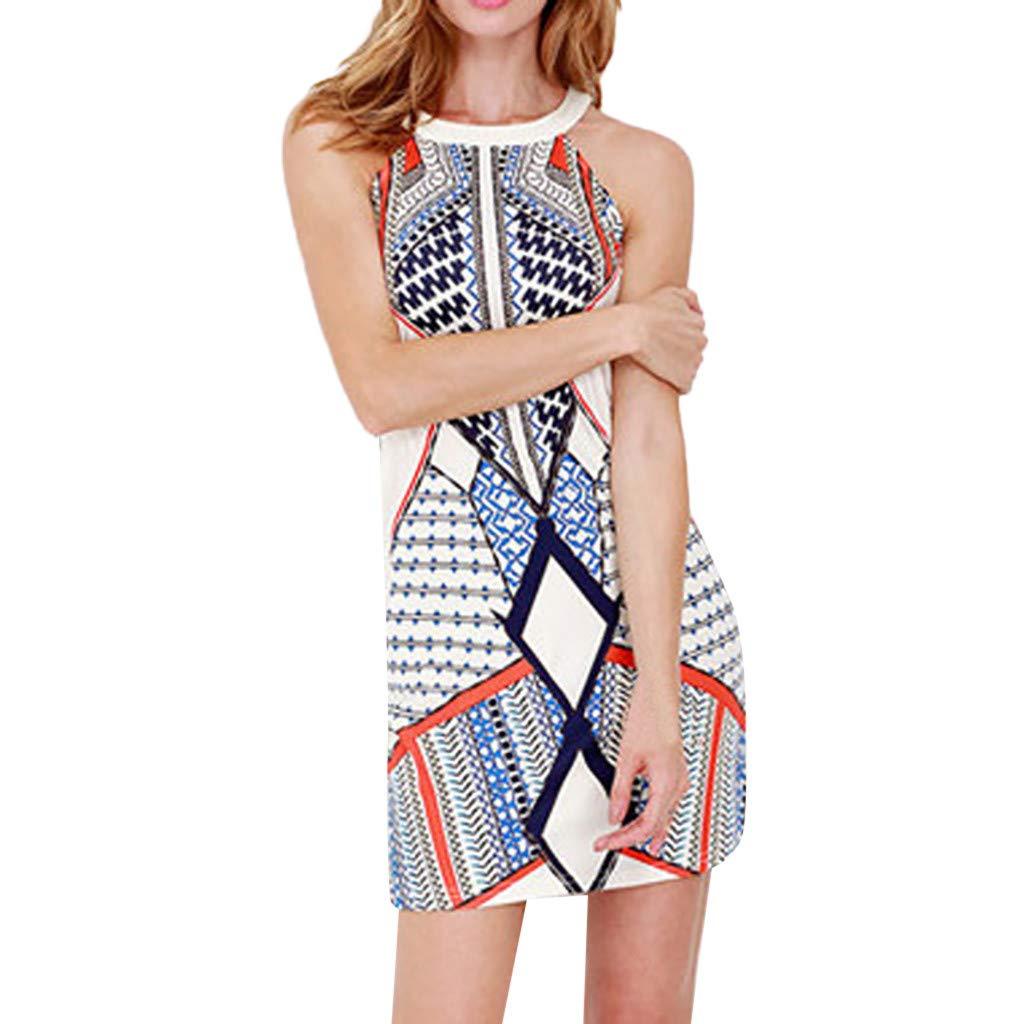 QinMM_Robes à imprimé géométrique sans Manches à la Mode pour Femmes