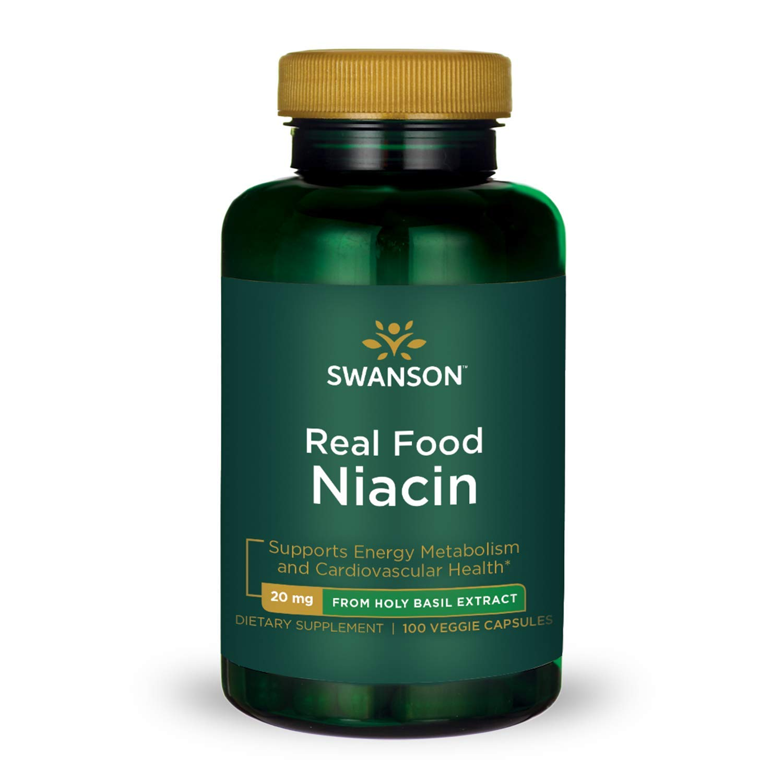 Swanson Real Food Niacin Vitamin B-3 Energy Metabolism Cardiovascular Health from Organic Holy Basil Extract Vegan Gluten-Free Non-GMO B3 20 mg 100 Veggie Capsules (Caps)