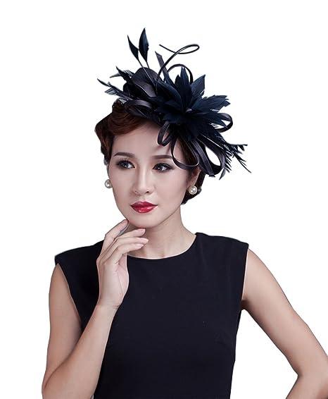 YSJOY Vintage Womens Satin Loop Flower Feather Fascinator Bridal Wedding  Hair Aceessory Church Derby Hat Tea 7b2e56b70745