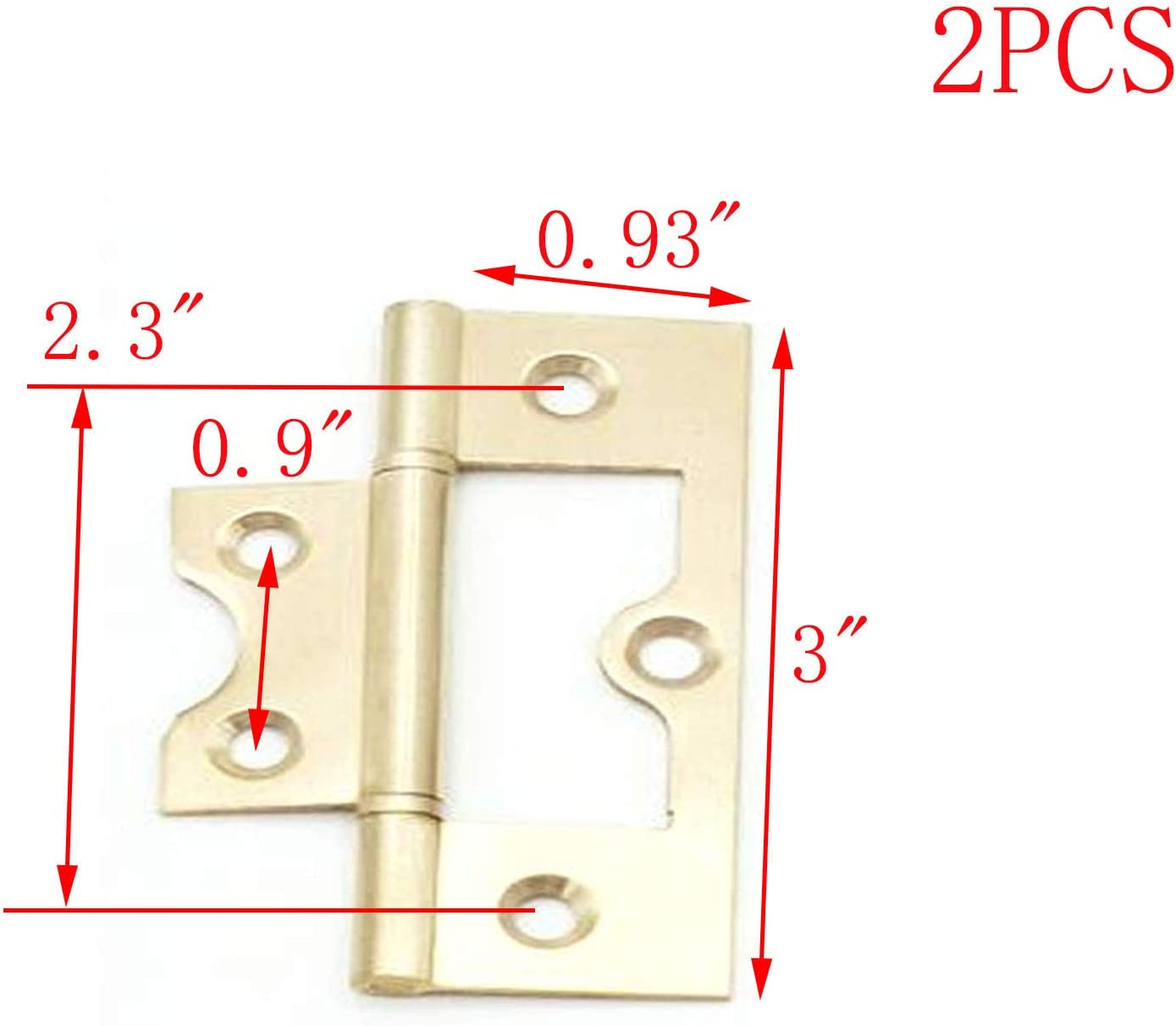 MTMTOOL Non-Mortise Antique Copper Hinge Gold Cabinet Gate Door Hinges with Screws,Gold,2.4 Inch,Pack of 2