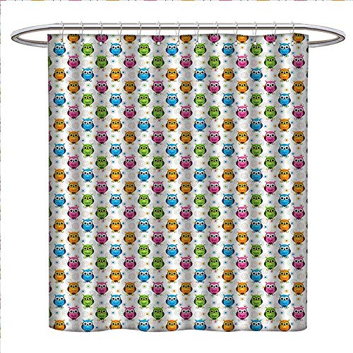 (WinfreyDecor Owls Shower Curtains Fabric Extra Long Lively Colored Fun Kids Cartoon Happy Mascots Colorful Pattern with Circles and Dots Bathroom Accessories W72 x L84 Multicolor)