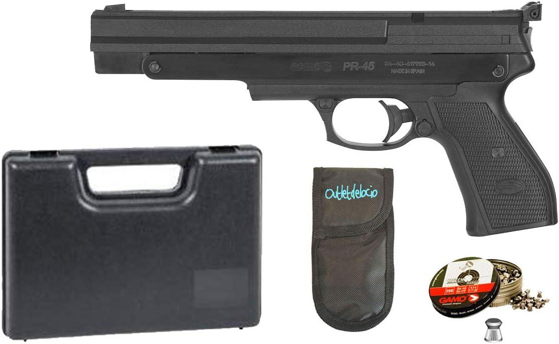 Outletdelocio. Pack Pistola perdigón Gamo PR-45 4,5mm. Carga Manual (no Necesita Botellas de Gas Co2). + Maletin + Funda Portabalines + Balines. 36483/23054