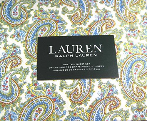 Lauren 3 Pc. Twin Size Multi Color Paisley Sheet Set 100% Cotton