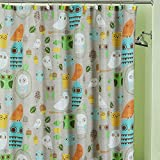 Owl Shower Curtain DS BATH Give a Hoot Shower Curtain,Mildew Resistant Polyester Shower Curtain,Owls Shower Curtains for Bathroom,Colorful Print Decorative Waterproof Bathroom Curtains,72