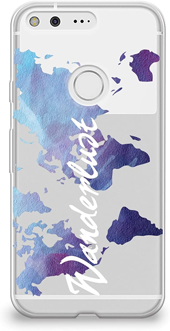 CasesByLorraine Google Pixel Case Wanderlust Quote Clear Transparent Case World Map Flexible TPU Soft Gel Protective Cover For Google Pixel A19