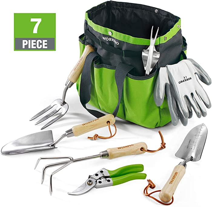 WORKPRO 11 kit, 10 Pieces, Light Garden Tools with Wooden Handle, Green