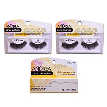 b5cc0464d43 Amazon.com : Andrea Strip lashes andrea 36 black (2 pack) + Strip Lashes  Glue Clear 0.25 g : Beauty