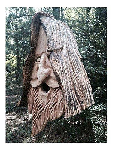 (Wood Spirit rustic Hand Carved Cedar Bird House Birdhouse Happy With Hair)
