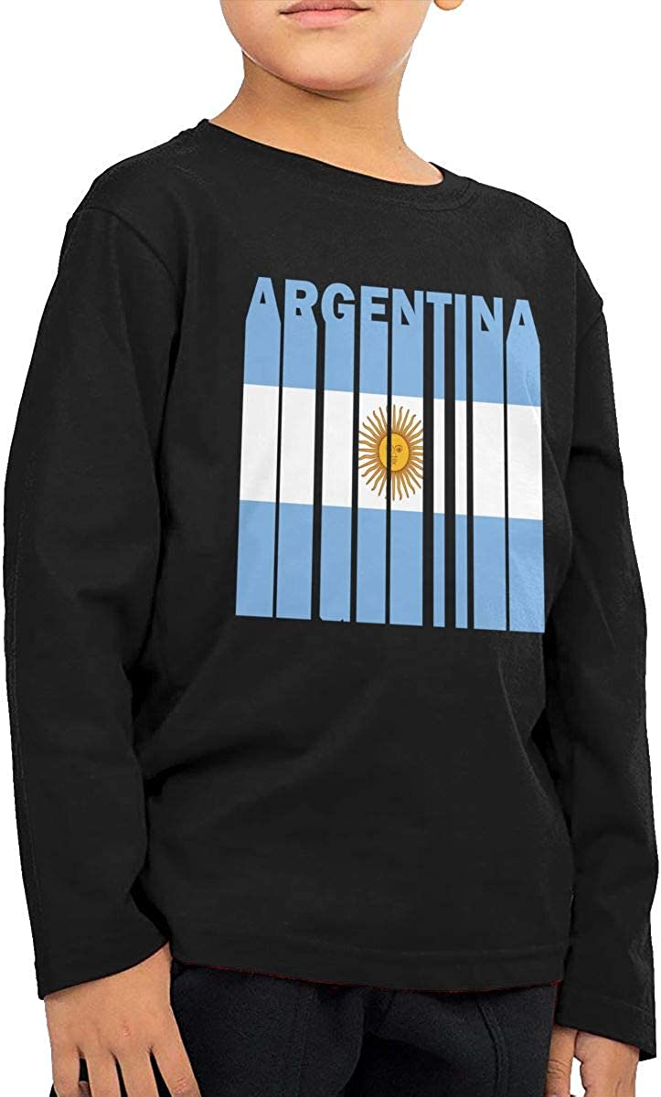 Argentina Flag Word Kids O-Neck Long Sleeve Shirt Tee Jersey for Toddlers