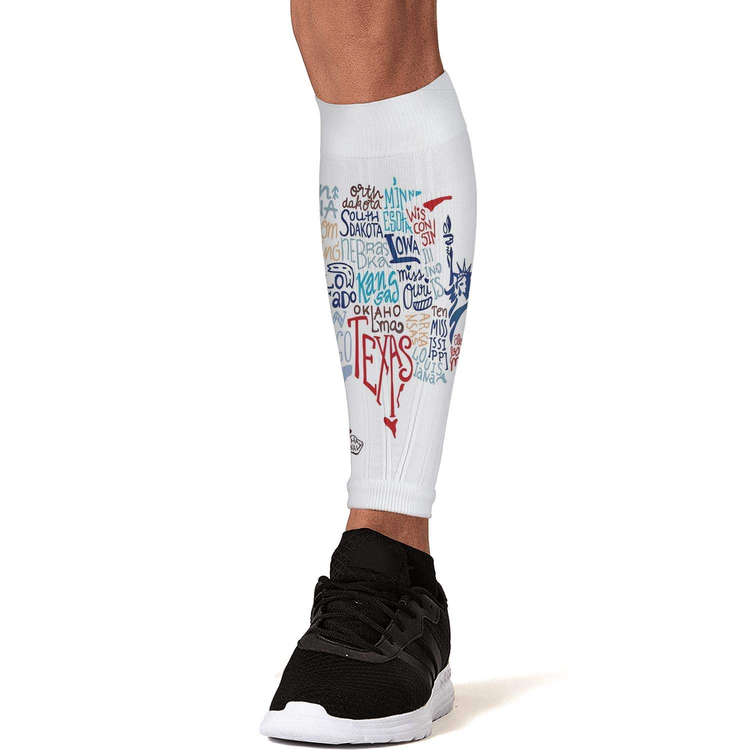 Smilelolly USA Map Calf Compression Sleeves Helps Faster Recovery Leg Sleeves for Men Women