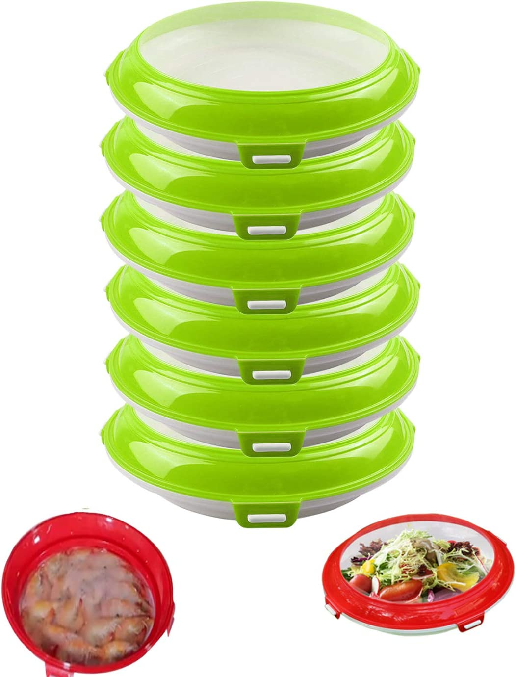 HangNiFang Food Preservation Tray Stackable Food Tray Food Storage Containers Reusable Durable Odor Free Keeping Food Fresh Suitable for Vegetables Fruits Meat Fish