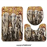 3 Piece Bath Rug Set Nalahome design-132434459 Native Thai style molding art Bathroom Rug(15.7''x23.62'')/large Contour Mat(15.7''x15.7'')/Lid Cover(15.7''x16.9'')For Bathroom(brown)