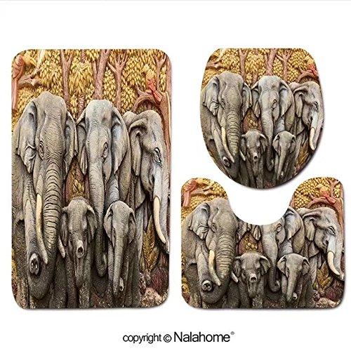 3 Piece Bath Rug Set Nalahome design-132434459 Native Thai style molding art Bathroom Rug(15.7''x23.62'')/large Contour Mat(15.7''x15.7'')/Lid Cover(15.7''x16.9'')For Bathroom(brown) by Nalahome
