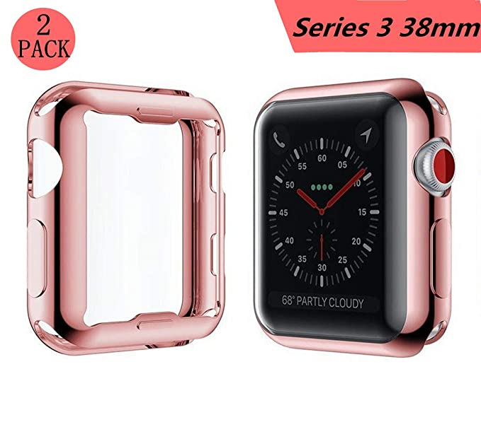 on sale 6fe17 e04d8 Smilelane Screen Protector Apple Watch 3 Case, iwatch Soft Flexible TPU  All-Around Protective Case High Defination Clear Ultra-Thin Cover for Apple  ...