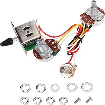 Amazon Com Guitar Wiring Harness Kit 3 Way Toggle Switch 500k With 0 62 Base For Electric Guitar Parts Musical Instruments