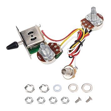 Dilwe Conjunto de Cableado para Guitarra Eléctrica, Arnés Cableado Conjunto 3 Vías Interruptores de Palanca