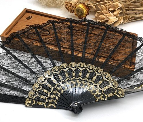Black 10Pcs/Lot Spanish Style Plastic Lace Folding Hand Held Flower Fan Dance Fan Decoracion Ornaments by Hand Fan