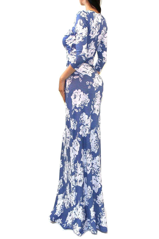 3861ec8c92d Amazon.com  VIVICASTLE Women s Printed V-neck 3 4 Sleeve Wrap Waist Tie  Long Maxi Dress (Large