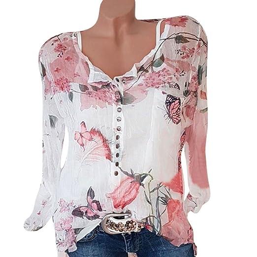 6ea1bb1ab2cf Kimloog Chiffon Blouse, Womens Floral Butterfly Printed O-Neck Button  T-Shirt Tops