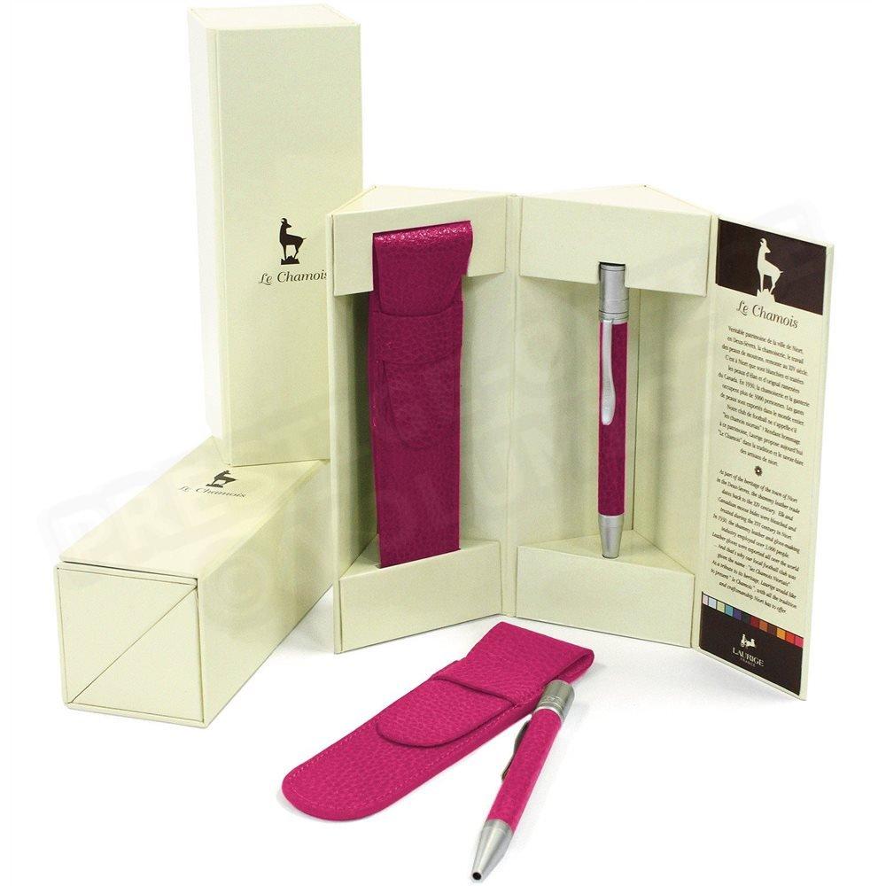 Bolígrafo con funda Assorti piel rose-fuchsia Beaubourg